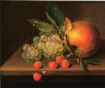george forster paintings - still life with grapes apple and strawberries by george forster