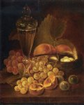 george forster paintings - still life with grapes peaches decanter and nest of eggs by george forster