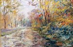 george gallo autumn on the towpath painting