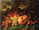 still life with peaches and grapes by george henry hall painting