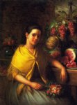 young girl with fruit and flowers by george henry hall painting
