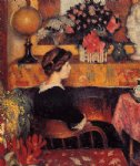 madame lemmen in a flowery interior by georges lemmen painting