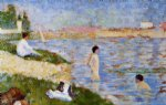 bathers in the water by georges seurat painting