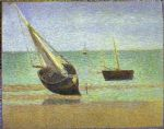 boats bateux maree basse grandcamp by georges seurat painting