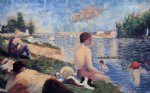 georges seurat final study for bathing at asnieres painting