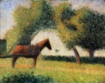 horse and cart by georges seurat painting