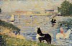 horses in the water by georges seurat painting