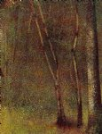 in the woods at pontaubert by georges seurat painting