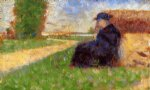 georges seurat large figure in a landscape painting