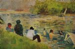 the bank of the seine by georges seurat painting