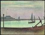 the channel at gravelines evening by georges seurat painting