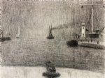 georges seurat the port of honfleur painting