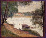 the seine at la grande jatte in the spring by georges seurat painting