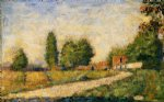 village road by georges seurat painting