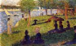 woman fishing and seated figures by georges seurat painting