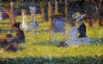 woman seated and baby carriage by georges seurat paintings