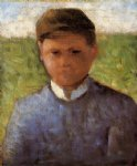 georges seurat young peasant in blue painting