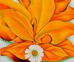 georgia o keeffe yellow hickory leaves with daisy painting