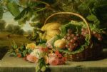 a still life with flowers grapes and a melon by geraldine jacoba van de sande bakhuyzen painting