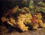 autumn treasures grapes in a wicker basket by geraldine jacoba van de sande bakhuyzen painting