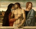 dead christ supported by the madonna and st. john by giovanni bellini painting