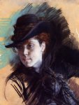 girl in a black hat by giovanni boldini painting