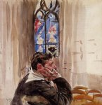 portrait of a man in church by giovanni boldini painting