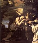 magdalen and two angels by guercino painting