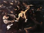 samson captured by the philistines by guercino painting