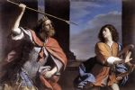 saul attacking david by guercino painting