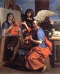 guercino st luke displaying a of the virgin painting-82941