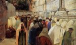 jews at the wailing wall by gustav bauernfeind painting