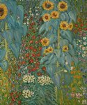 farm garden with sunflowers ii by gustav klimt painting