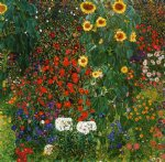farm garden with sunflowers by gustav klimt painting