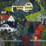 houses at unterach on the attersee by gustav klimt painting
