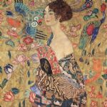 lady with fan by gustav klimt painting