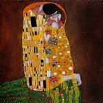 the kiss full view by gustav klimt painting