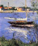 gustave caillebotte anchored boat on the seine at argenteuil art