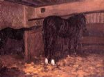 gustave caillebotte horses in the stable painting