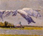 laundry drying petit gennevilliers by gustave caillebotte painting