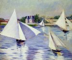 gustave caillebotte sailboats on the seine at argenteuil art