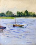 gustave caillebotte sailing boats on the seine at argenteuil art