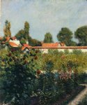 the garden of petit gennevillers the pink roofs by gustave caillebotte painting