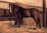 gustave caillebotte yerres reddish bay horse in the stable painting