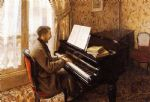 young man playing the piano by gustave caillebotte posters