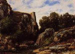 gustave courbet a waterfall in the jura painting-32733