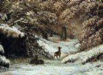 gustave courbet deer taking shelter in winter painting-32747