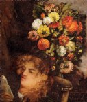 gustave courbet head of a woman with flowers painting 32754