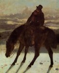 gustave courbet hunter on horseback redcovering the trail painting