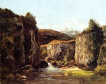 gustave courbet landscape the source among the rocks of the doubs painting 32762